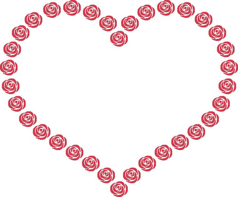 赤いバラのハート型フレーム飾り枠イラスト