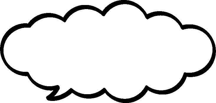 モコモコした雲型の吹き出し(ふきだし)イラスト<太線>