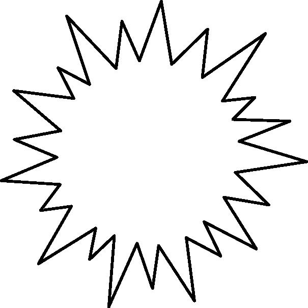 [爆弾]トゲトゲした吹き出し(フキダシ)イラスト<細線>