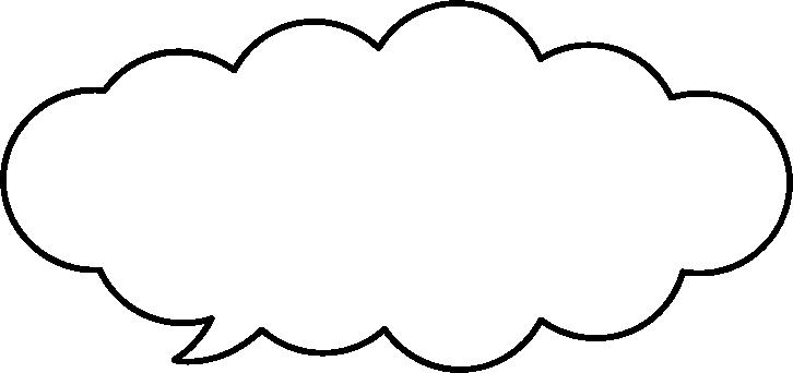 モコモコした雲型の吹き出し(ふきだし)イラスト<細線>
