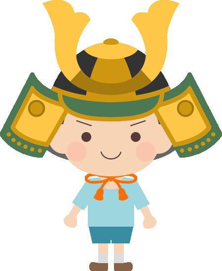 【端午の節句・子供の日】兜をかぶった男の子のイラスト<緑>