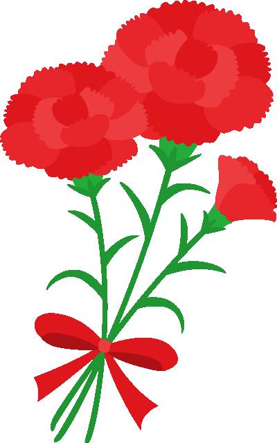 赤いカーネーションのイラスト