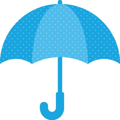 青い傘(水玉模様)のイラスト