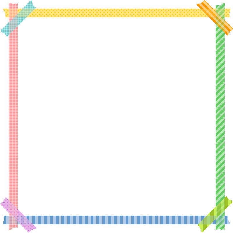マスキングテープのフレーム枠イラスト<正方形>