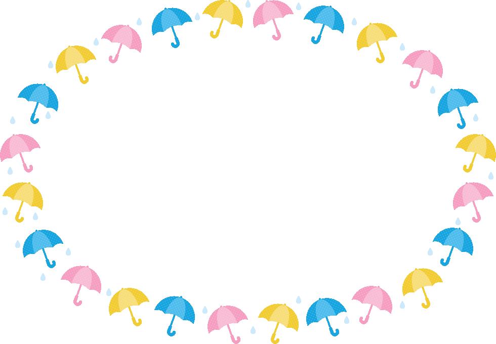 傘と雨滴のフレーム飾り枠イラスト(楕円形)