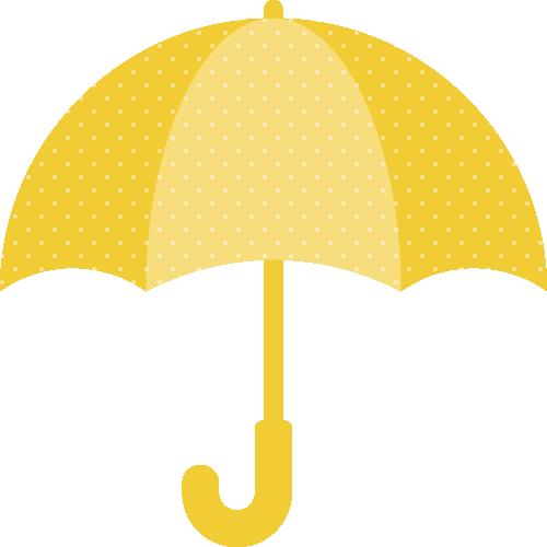 黄色い傘(水玉模様)のイラスト
