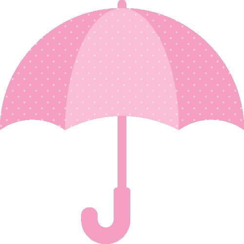 ピンクの傘(水玉模様)のイラスト