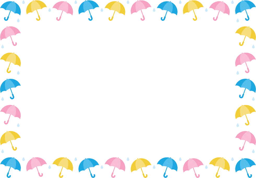 傘と雨滴のフレーム飾り枠イラスト長方形楕円形 無料フリー
