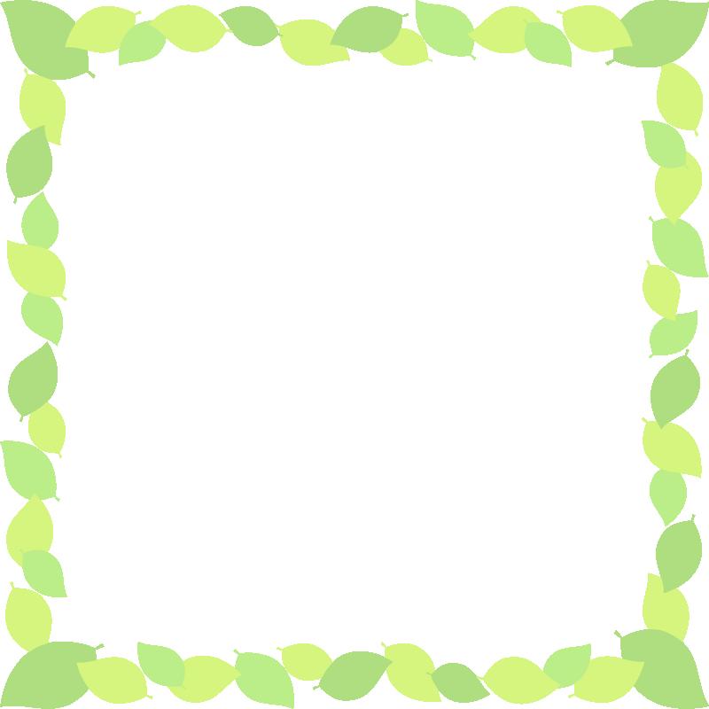 新緑・若葉のグリーンフレーム飾り枠イラスト(正方形)