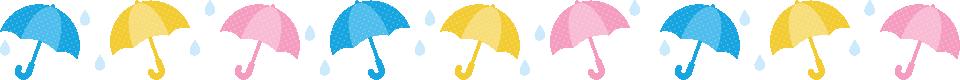 傘と雨滴のライン飾り罫線イラスト