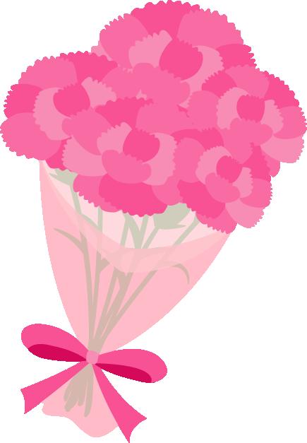 ピンクのカーネーションの花束イラスト