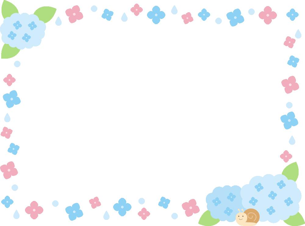 紫陽花(あじさい)のフレーム飾り枠イラスト<水色>