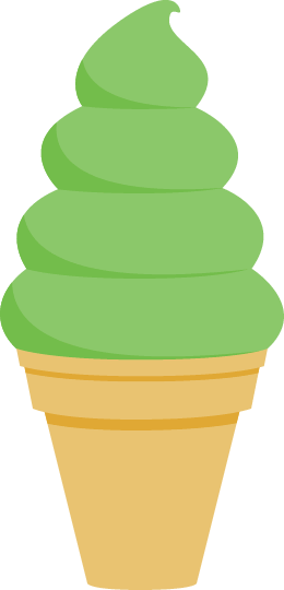 ソフトクリームのイラスト<抹茶味>