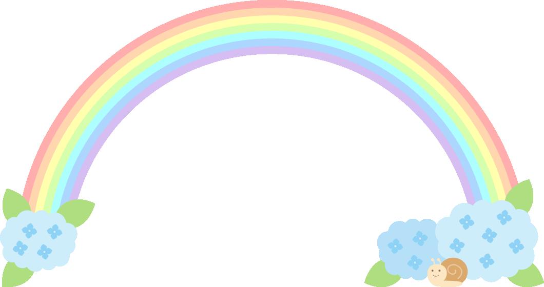紫陽花と虹(レインボー)のフレーム飾り枠イラスト<水色>