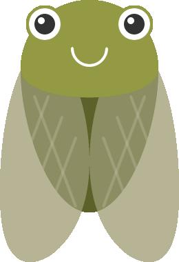 蝉(セミ)のイラスト<緑色>
