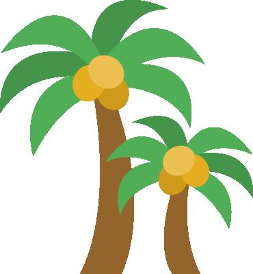 椰子の木(ヤシの木)のイラスト<2本>