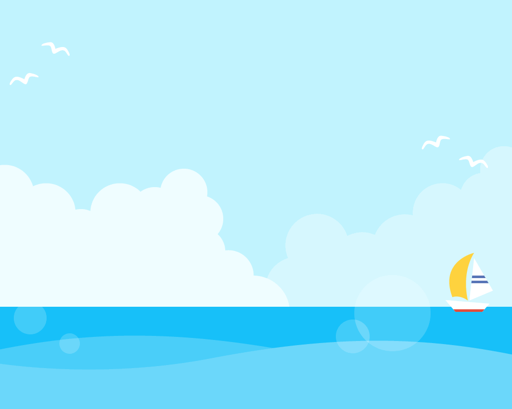 夏の青空と海の背景フレームイラスト[入道雲/カモメ/ヨット] | 無料