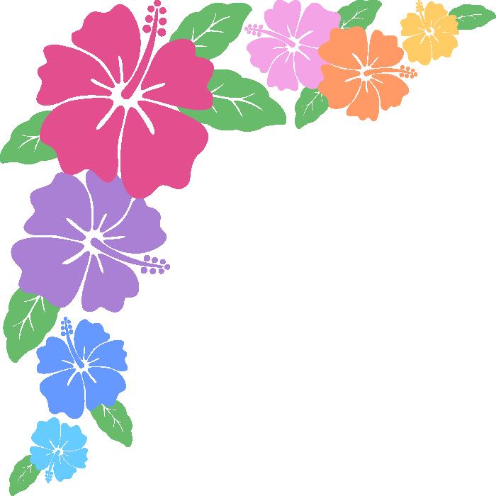 ハイビスカスのコーナーフレーム飾り枠イラスト<カラフル>