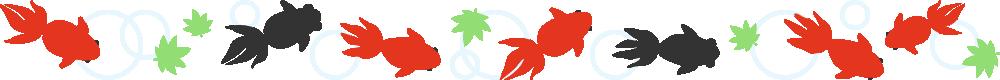 金魚と出目金のライン飾り罫線イラスト