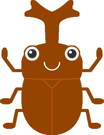 かわいいカブトムシのイラスト<赤茶色>