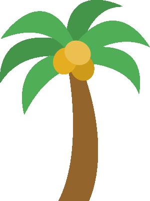 椰子の木(ヤシの木)のイラスト<1本>