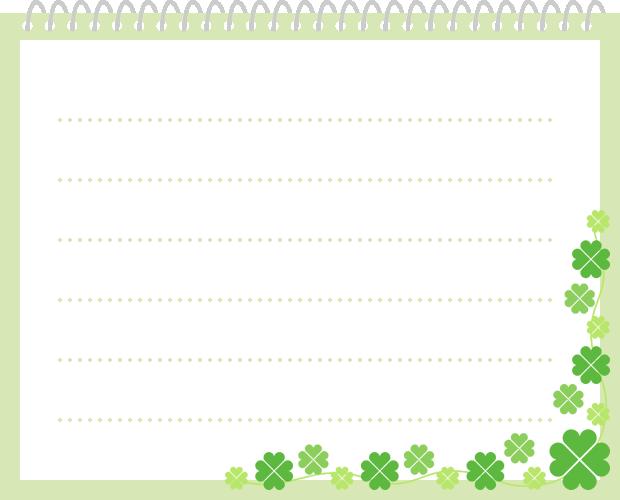 四ツ葉のクローバーを飾ったリングノート(メモ帳)のイラスト(W620×H500px)