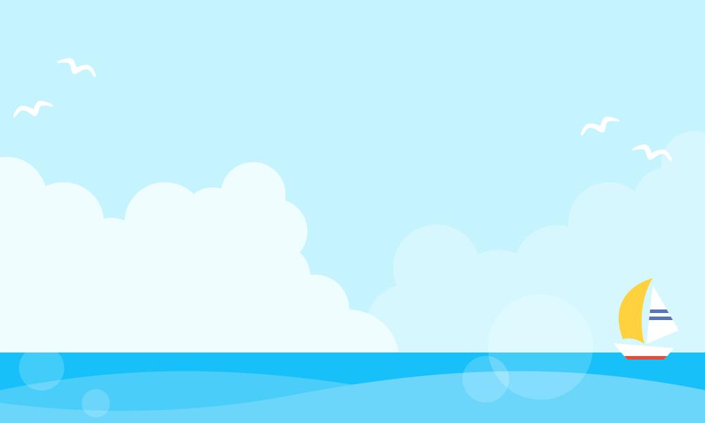 夏の青空と海の背景フレームイラスト入道雲カモメヨット 無料