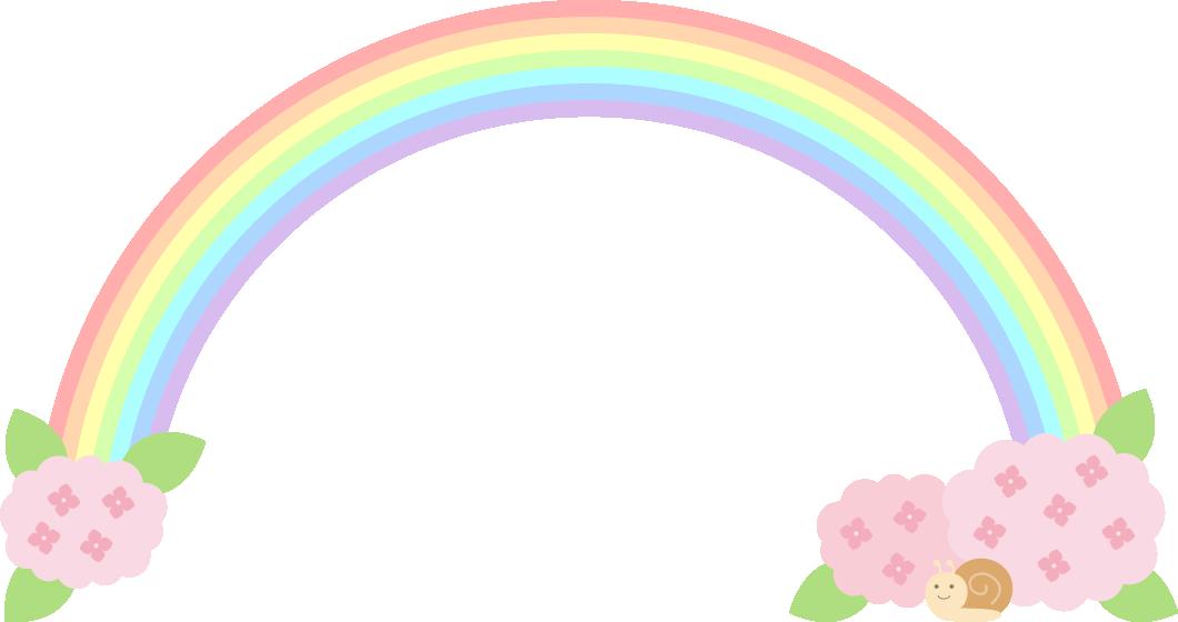 紫陽花と虹(レインボー)のフレーム飾り枠イラスト<ピンク>