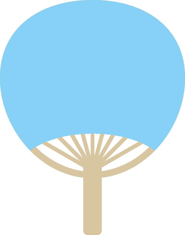 団扇(うちわ)の背景フレームイラスト<無地:水色>