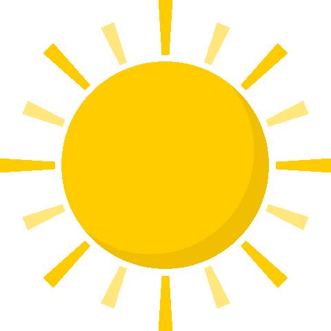 太陽(お日様マーク)のイラスト<黄色>