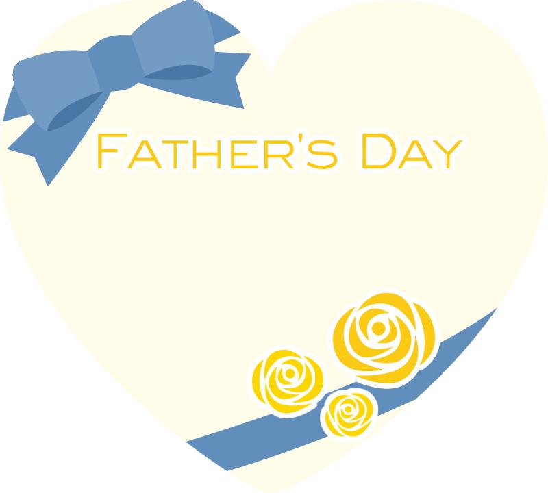 [父の日]リボン付きハート型フレーム枠イラスト<黄色>