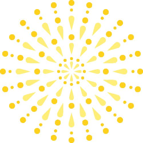 花火のイラスト<黄色・オレンジ色>