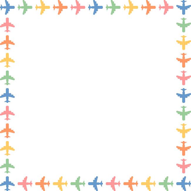 飛行機のフレーム飾り枠イラスト(正方形)