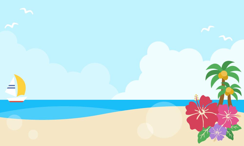 夏の青空と砂浜の背景フレームイラスト(W1000×H600px)