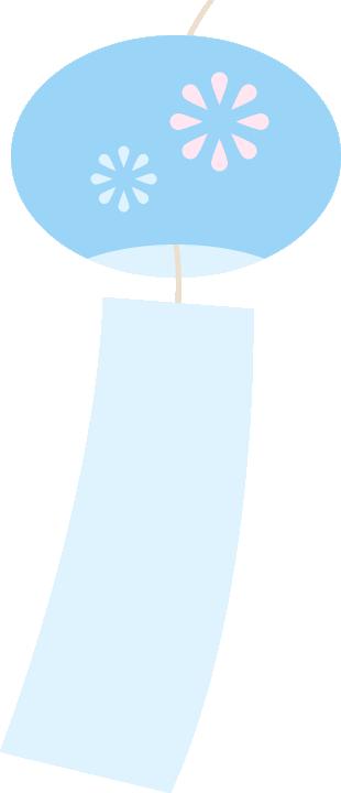 風鈴のイラスト<水色>