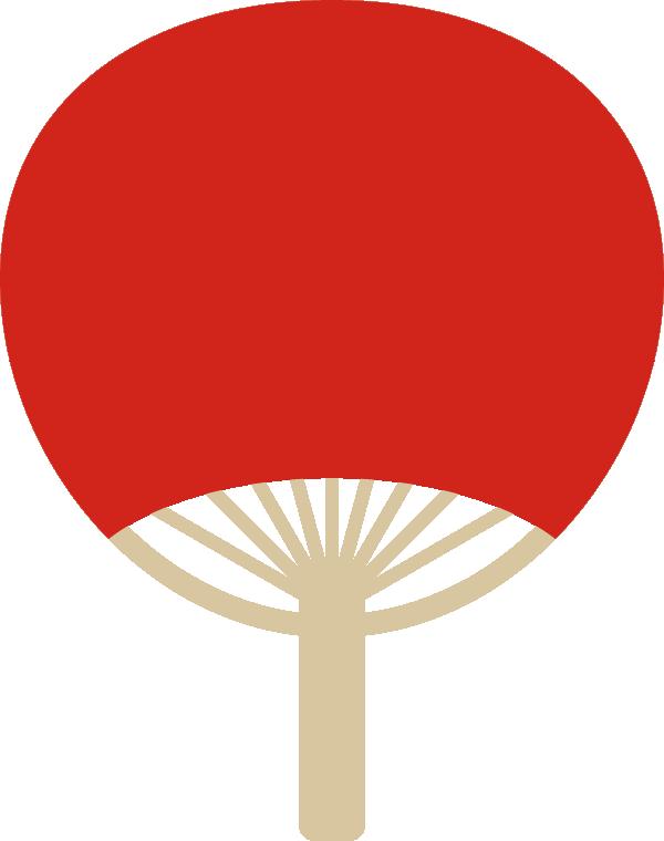 団扇(うちわ)の背景フレームイラスト<無地:赤色>