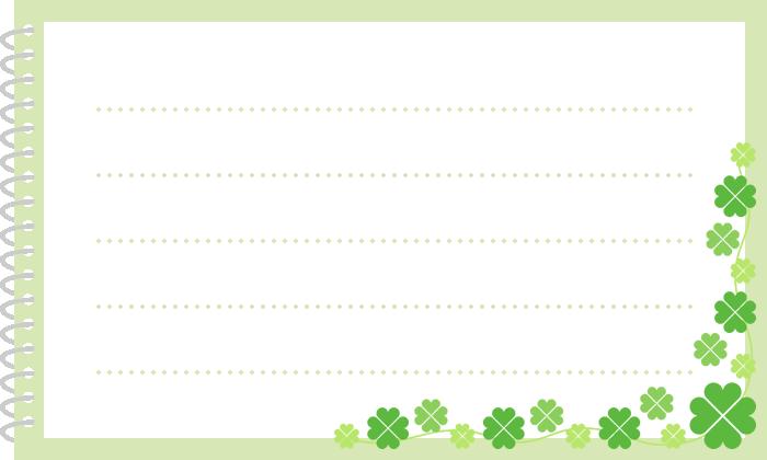 四ツ葉のクローバーを飾ったリングノート(メモ帳)のイラスト(W700×H420px)