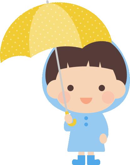傘をさすかわいい男の子