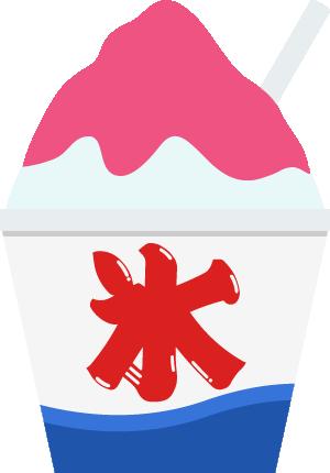 夜店(屋台)のかき氷イラスト<イチゴ味>