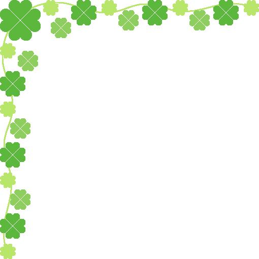 四ツ葉のクローバーのコーナーフレーム飾り枠イラスト(W510×H510px)