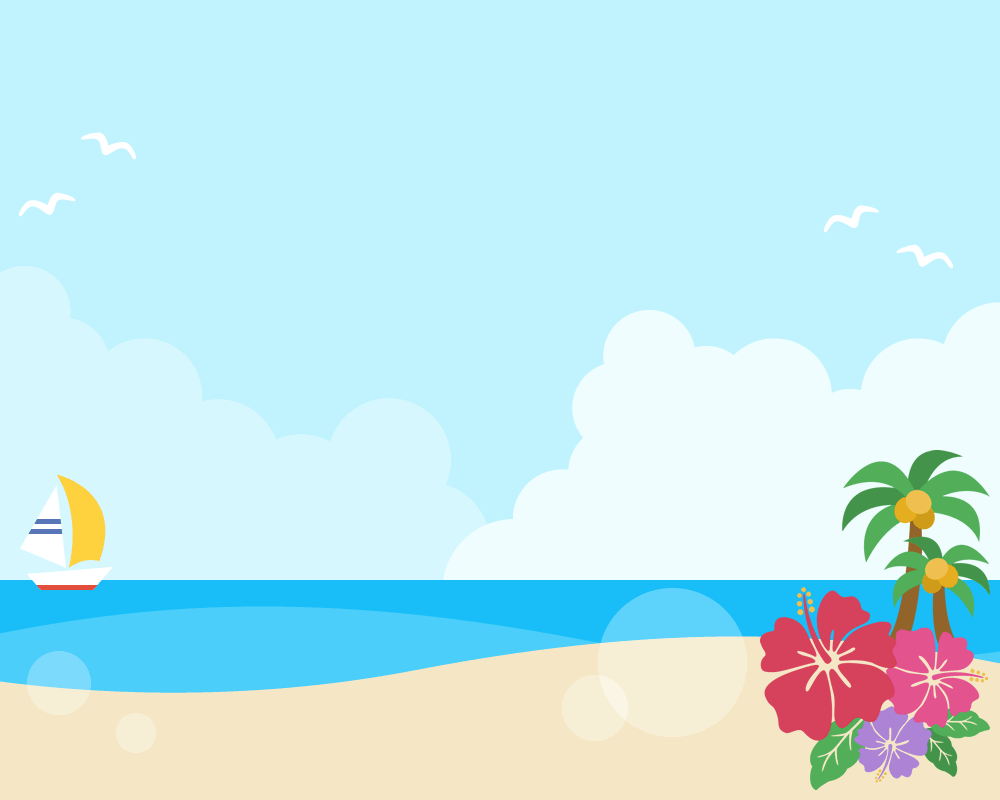 夏の青空と砂浜の背景フレームイラスト(W1000×H800px)