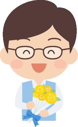 [父の日]バラの花束をもらったお父さんのイラスト