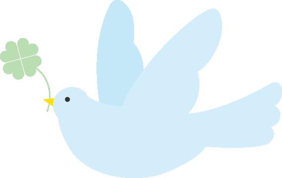 四ツ葉のクローバーをくわえた鳩(ハト)のイラスト<水色>