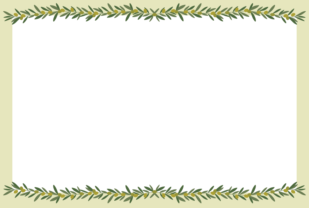 オリーブのメッセージフレーム枠イラスト(上下飾り)