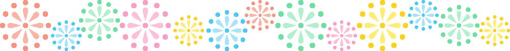 打ち上げ花火のライン飾り罫線イラスト<大>