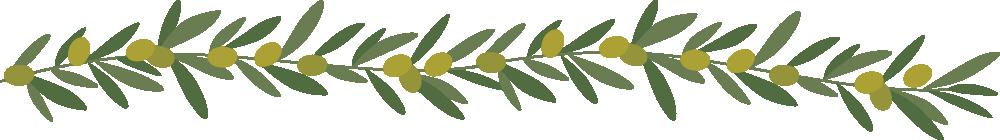 オリーブ(葉・実)のライン飾り罫線イラスト(W1000×H140px)