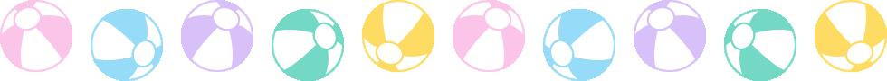 ビーチボールのライン飾り罫線イラスト<大>