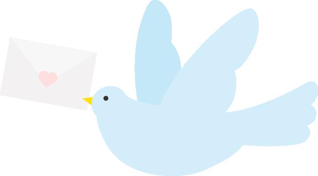 封筒をくわえた伝書鳩(ハト)のイラスト<水色>