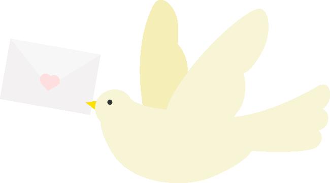 封筒をくわえた伝書鳩(ハト)のイラスト<ベージュ>