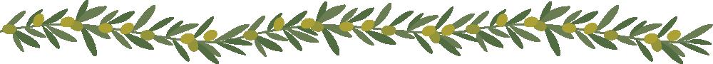 オリーブ(葉・実)のライン飾り罫線イラスト(W1000×H90px)